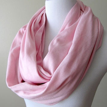 Light Pink Infinity Scarf  Nomad Cowl  Loop Scarf by JerseyScarves