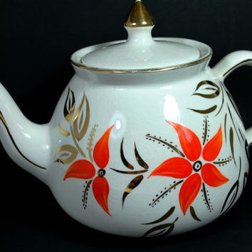 Vintage Teapot in Porcelain with Orange Flowers and Gold Lines Art Deco England Gibsons