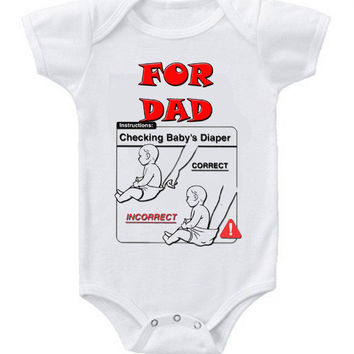 NEW Cute Funny Check Diaper Baby Bodysuits One Piece How To For Dad