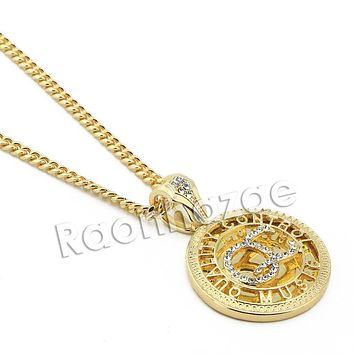 """Mens Iced Out Brass Gold Yachty QC Charm Pendant w/ 5mm 24"""" 30"""" Cuban Chain A06G"""