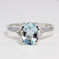 Aquamarine Oval Ring - Sterling Silver