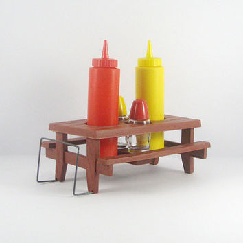 Vintage Gemco Condiment Table, Picnic Table Mustard Ketchup, Salt Pepper, Napkin Holder, Retro Houseware