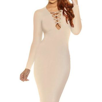 Cross My Heart Midi Dress - Nude