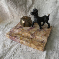 French vintage marble inkwell - vintage desk tidy - vintage office - dog inkwell - office decor - interior design - art deco inkwell