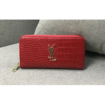 YSL hot-selling crocodile pattern lady's folded Handbag Wallet Black