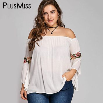 96536d7de1b PlusMiss Plus Size 5XL Embroidered Bell Flare Sleeve Boho Beach
