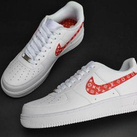 DCCKL8A Jacklish Supreme X Nike Air Force 1 Low Custom Monogram Print White Red For Sale