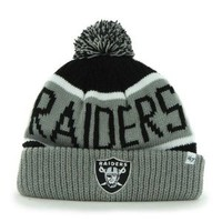 Oakland Raiders 47 Pom Top Cuff Knit Hat Beanie