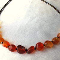 Dainty and simple, ombré carnelian necklace. Long necklace, perfect for layering. Red, orange, yellow, cream and brown, Autumn hues