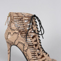 Women's Anne Michelle Python Caged Lace Up Bootie