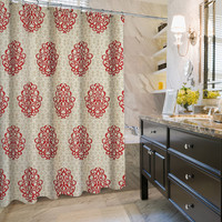 "KESS Original ""Knotty Red"" Angel House Shower Curtain"