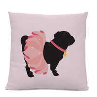 Black Pug Pillow - Black Pug in Pink Tutu Pillow - dog pillow - ballerina home decor - pug throw pillow - pink pillow - Ballerina Pug Pillow