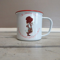Vintage Holly Hobbie Metal Cup Childs Cup Holly Hobby Christmas is Here Holiday Cup Christmas Cup Vintage Christmas Hot Chocolate