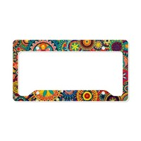 Colorful Retro Flower Pattern License Plate Holder