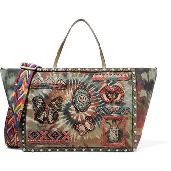 Valentino - Leather-trimmed embellished tie-dye canvas tote