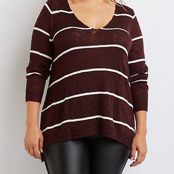 Plus Size Striped Open Back Sweater