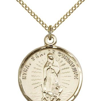 14K Gold Filled Our Lady Guadalupe Virgin Mary Medal Necklace Pendant 617759884647