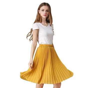 DCCKDZ2 Vintage Tulle Skirt Tutu Midi Summer Skirts Womens 2016 Slim Elastic High Waist Skirt Jupe Longue Skater Skirt Pleated Skirts