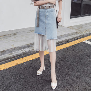 Fashion Bodycon Gauze Stitching High Waist Medium Long Section Irregular  Denim Skirt