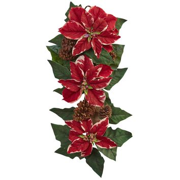 Artificial Flowers -25 Inch Poinsettia Pine Cone And Burlap Teardrop Swag