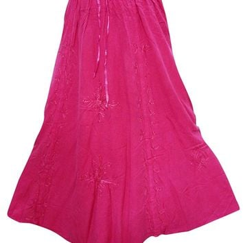Women's Peasant Skirt Pink Embroidered Rayon Flare Hippie Gypsy Long Skirts medium: Amazon.ca: Clothing & Accessories