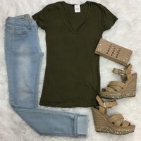 Goes With Everything V-Neck Top: Olive