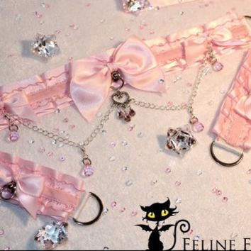 Made-to-order pink kittenplay petplay Collar & Cuff set with acrylic rhinestones and beads + chain details