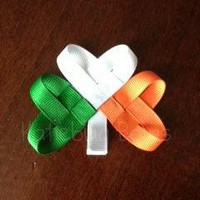 Green, White, and Orange Shamrock Hair Clip or Lapel Pin - Irish Flag - Notre Dame Fighting Irish - Ireland