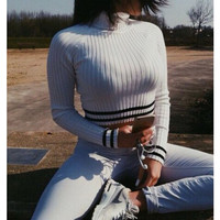 White High Neck Long Sleeve Knit Sweater with Stripe Detail