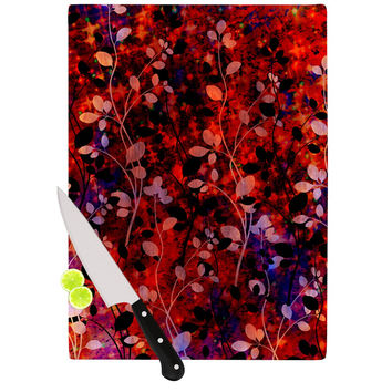 "Ebi Emporium ""Amongst the Flowers - Summer Nights"" Red Black Cutting Board"