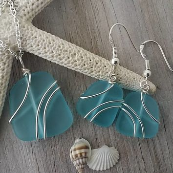 Made in Hawaii, Wire wrapped Turquoise Bay blue sea glass necklace + earrings jewelry set, Sterling silver chain, Beach jewelry gift.
