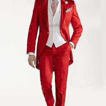 Custom Design Red Tailcoat Groom Tuxedos Peaked Lapel Best Men's Wedding Dress Prom Holiday Suit(Jacket+pants+Vest)