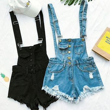 Fashion women suspenders overalls denim jean shorts romper F