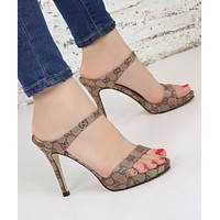 "Hot Sale ""GUCCI"" Popular Women Sexy Princess Sandals High Heels Khaki I12049-1"