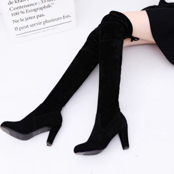 Knee-high show tall with pure color Martin boots boots Black