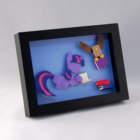 3-D MLP Twilight Sparkle and Owlicious - Framed 5x7 Shadowbox Geek Paper Art My Little Pony Mane 6 Shadow Box