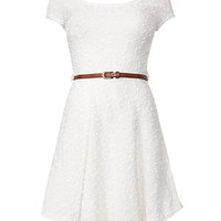 Cream Popcorn Knit Cap Sleeve Dress