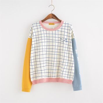 Women's Tunic Japan Harajuku Ulzzang Small Fresh Loose Lattice Block Color Sweatshirt Female Korean Kawaii  Svitshot For Women