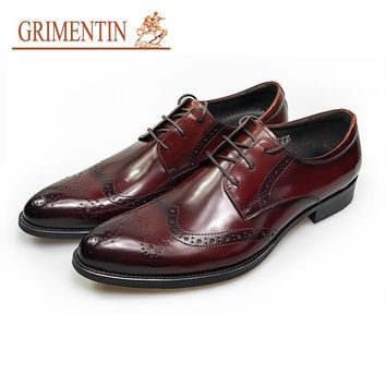 brown wedding shoes men genuine leather style formal shoes lace up