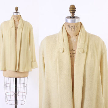 Vintage 50s SWING COAT / 1950s Pale Yellow Textured Wool Cropped Jacket M