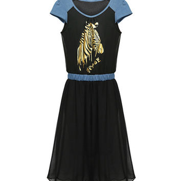 Golden Zebra Print Short Sleeve Pleated Chiffon Dress