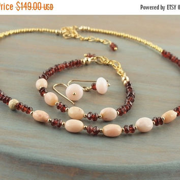 On Sale Pink Opal & Garnet Necklace Bracelet Earrings 3 Pieces Christmas Gift Set Natural Gemstone Gold Earrings January October Birthstone