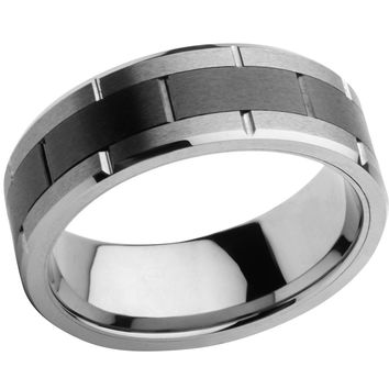 INOX Jewelry Men's Stainless Steel with Black Center Tungsten Carbide and Ceramic Ring