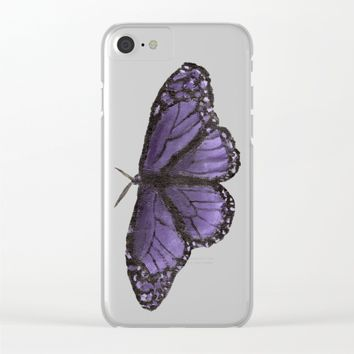 The Purple Butterfly Clear iPhone Case by Lindsay