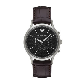 ARMANI WATCH TEXTURED DIALS MEN DRESS LEATHER RENATO STAINLESS STEEL AR2482