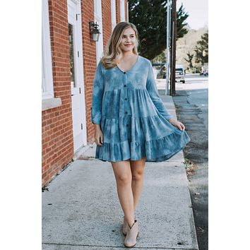 Paper Route Tiered Tie Dye Knit Dress, Denim Blue