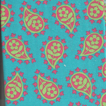 Cotton Fabric, Lime Green, Pink, Turquoise Paisley, Quilting, 1/2 Yard, LAST PIECE AVAILABLE
