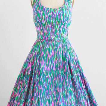 vintage 1950s dress / 50s dress / Hot Pink and Green Halter Dress with Sequins