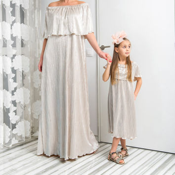 NEW SS16 Maxi Pleated Dress, Matching dresses for Mommy and Mini, Maxi dress, Plus size dress, Elegant dress,Party dress, Occasion dress