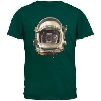 CREYCY8 Astronaut Pug Dark Green Youth T-Shirt